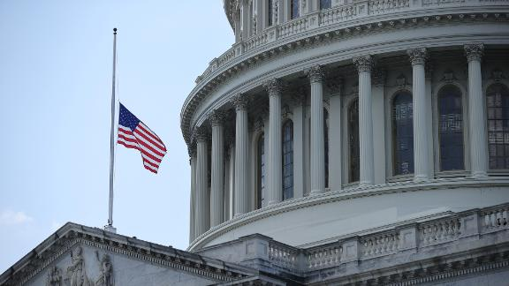 WASHINGTON, DC - JULY 27: The flag flies at half-staff in honor of Rep. John Lewis (D-GA) outside the U.S. Capitol where he will lie in state July 27, 2020 in Washington, DC. Called 'the conscience of the U.S. Congress,' Lewis was a civil rights pioneer, contemporary of Dr. Martin Luther King, Jr. and helped to organize and address the historic March on Washington in August 1963. Lewis served Georgia's fifth congressional district from 1987 until his death on July 17. (Photo by Chip Somodevilla/Getty Images)