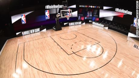 A general overall interior view of the court as part of the NBA restart 2020 on July 21, 2020 at The Arena at ESPN Wide World of Sports in Orlando, Florida.