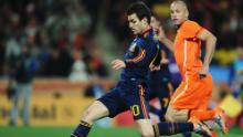 Fabregas shoots during the 2010 FIFA World Cup South Africa final match between Netherlands and Spain at Soccer City Stadium on July 11, 2010 in Johannesburg, South Africa.