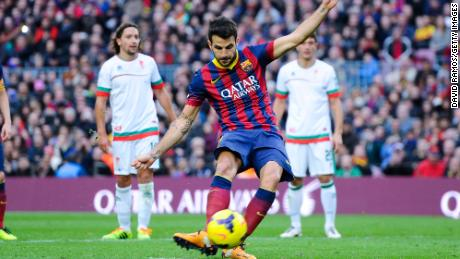 Fabregas from the penalty spot during the La Liga match between FC Barcelona and Granda CF at Camp Nou on November 23, 2013 in Barcelona, Spain.