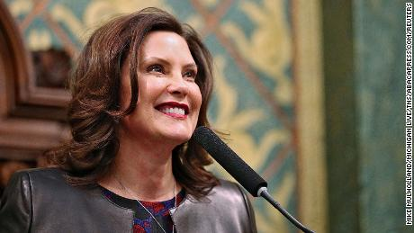 Michigan Governor Gretchen Whitmer delivers her State of the State address to legislators on the House floor at the Michigan State Capitol in Lansing, on Wednesday, January 29, 2020. (Mike Mulholland/Michigan Live/TNS/ABACAPRESS.COM)