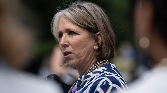 "WASHINGTON, DC - JUNE 13: Rep. Michelle Lujan Grisham (D-NM) speaks during a news conference on immigration to condemn the Trump Administration's ""zero tolerance"" immigration policy, outside the US Capitol on June 13, 2018 in Washington, DC. (Photo by Toya Sarno Jordan/Getty Images)"