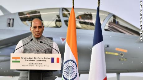Indian Defence minister Rajnath Singh speaks during the ceremony marking the delivery of the first of 36 Rafale fighter jets destined for India, on October 8, 2019 at Dassault Aviation plant in Merignac, France.
