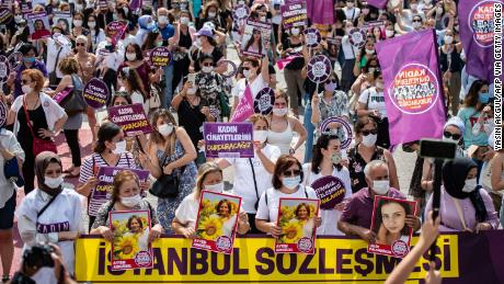 Demonstrators in Turkey this month protested against femicides in the country. Many of them were members of the We Will Stop Femicide Platform.