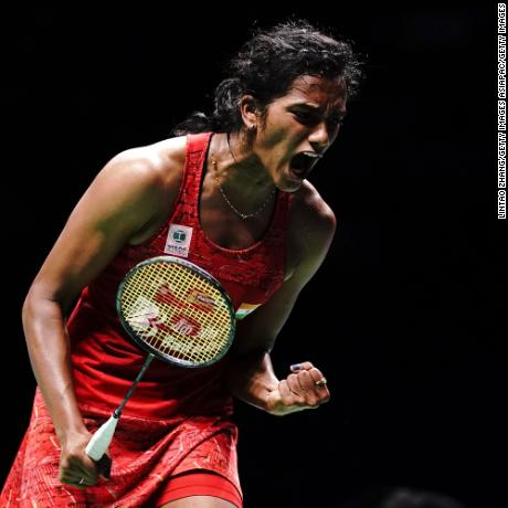 NANJING, CHINA - AUGUST 04:  Pusarla V. Sindhu of India celebrate after defeating Akane Yamaguchi of Japan in their Women's Singles Semifinals match during the Badminton World Championships at Nanjing Youth Olympic Games Sport Park  on August 4, 2018 in Nanjing, China.  (Photo by Lintao Zhang/Getty Images)