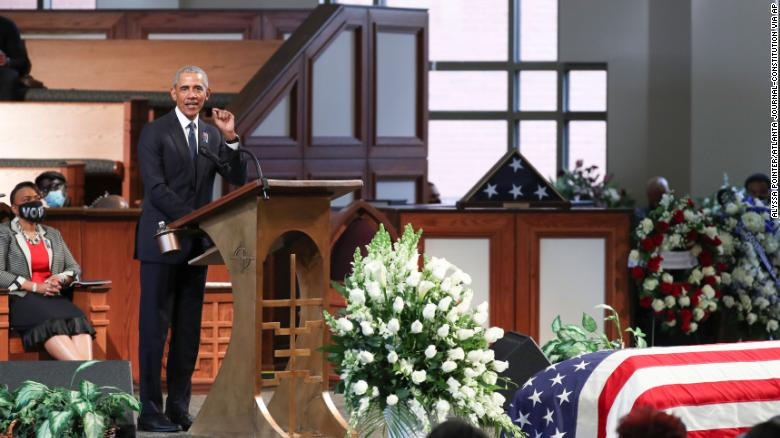 Former President Barack Obama speaks during the funeral for Rep. John Lewis, D-Ga., at Ebenezer Baptist Church in Atlanta, Thursday, July 30.