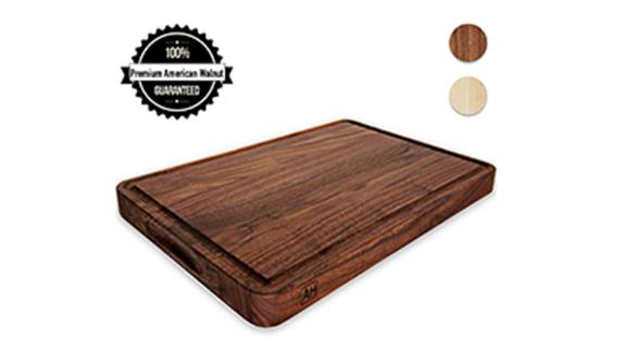 Reversible 17- by 11-Inch Walnut Cutting Board With Handles and Juice Groove