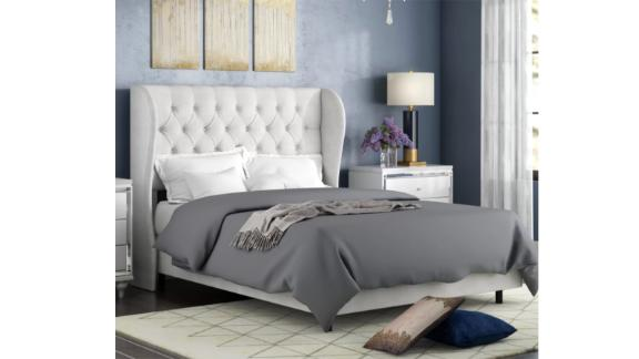 Willa Arlo Interiors Alcantara Diamond Tufted Upholstered Standard Bed