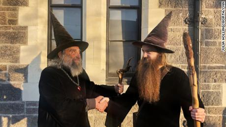The Wizard and his apprentice Ari Freeman in central Christchurch, New Zealand, on June 2, 2020.