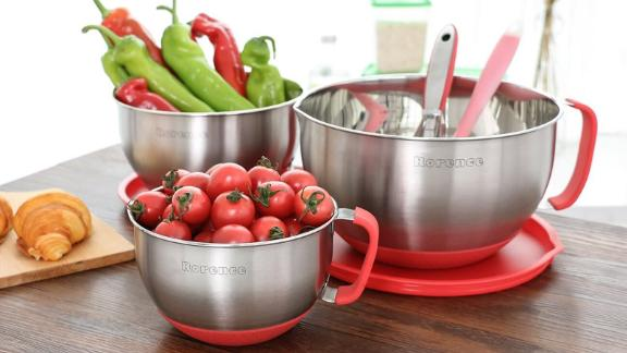 Rorence Stainless Steel Nonslip Mixing Bowls, Set of 3 in Red