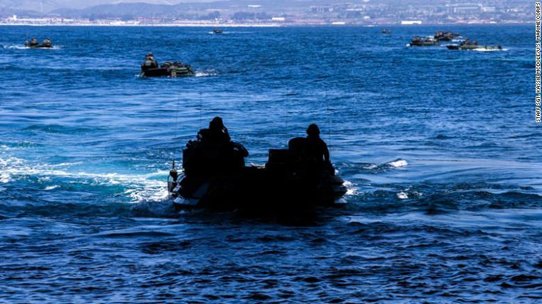 U.S. Marines operate assault amphibious vehicles.