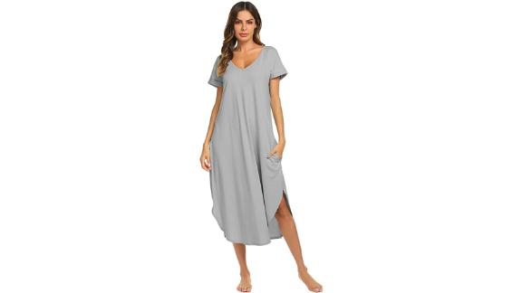 Ekouaer V-Neck Loungewear Nightgown