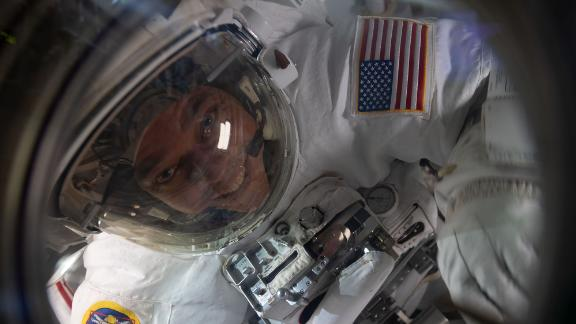 Behnken is pictured inside the Quest airlock at the end of a July 1 spacewalk to replace batteries on the International Space Station