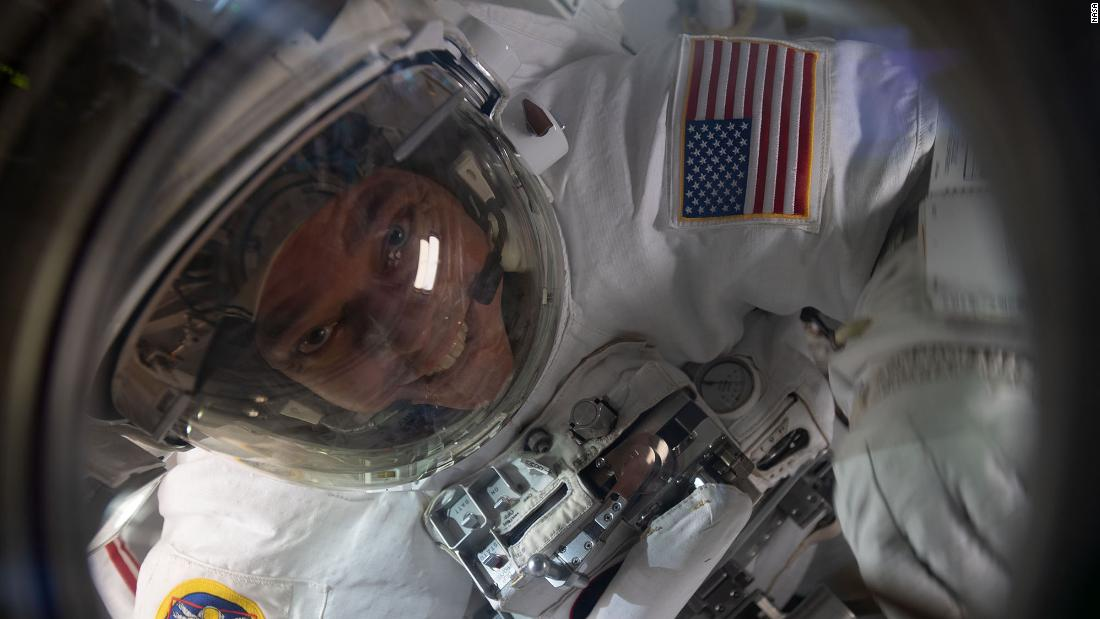 Behnken is pictured inside the Quest airlock at the end of a July 1 spacewalk to replace batteries on the International Space Station's Starboard-6 truss structure.