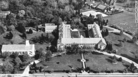 The Nebraska Avenue communications complex in Washington that was used for top-secret codebreaking during WWII is shown from above.