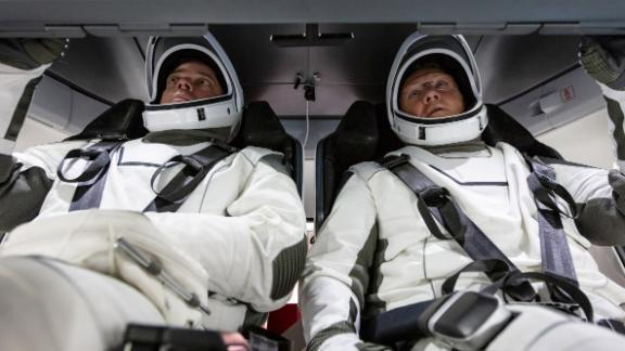 """NASA <a href=""""https://twitter.com/NASA/status/1288929871142559744"""" target=""""_blank"""" target=""""_blank"""">tweeted this photo</a> of Behnken and Hurley on Friday, July 30."""