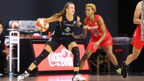 Sabrina Ionescu had 10 points against the Atlanta Dream on Friday before suffering an ankle injury.