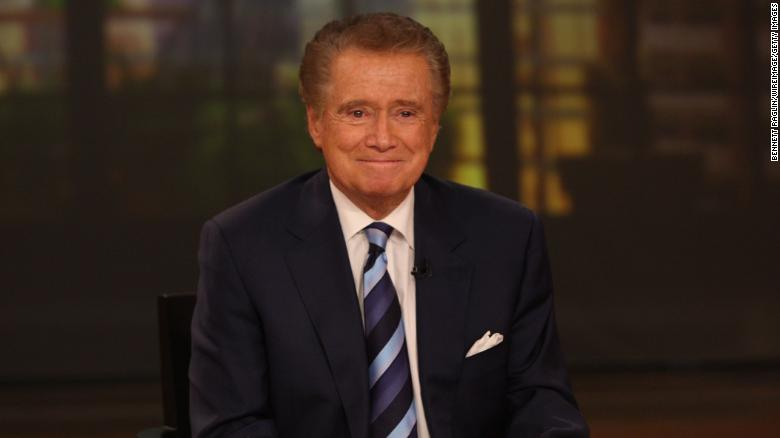 "Regis Philbin at a November 2011 press conference on his departure from ""Live with Regis and Kelly."""