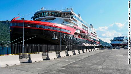 The cruise ship was moored in Tromso after 36 crew members tested positive for the coronavirus.
