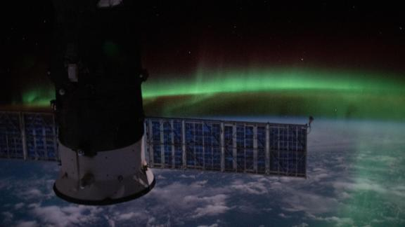 This nighttime view was seen from the International Space Station on June 7 as it orbited above the Indian Ocean. It shows the aurora australis and a starry sky with Russia's Progress 74 resupply ship in the foreground.