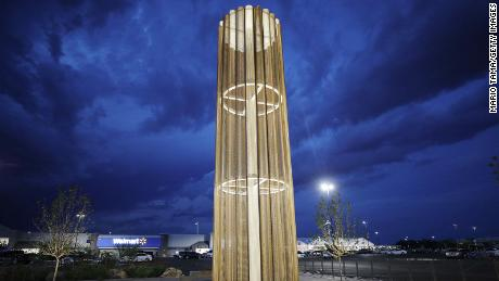 The 'Grand Candela' was built last year at the southern end of the Walmart car park to honor the victims.