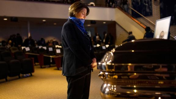 Klobuchar pays her respects to George Floyd before a memorial service in Minneapolis in June 2020.