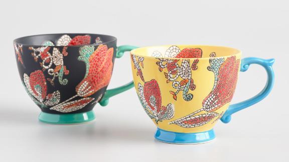 Hand-Painted Mosaic Mugs, Set of 2