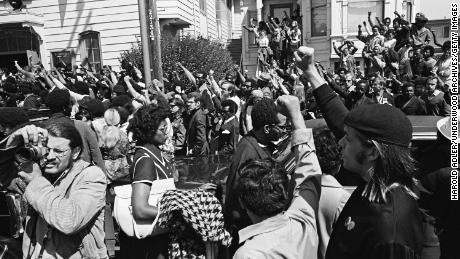 People gather for the funeral of George Jackson in Oakland, California, in 1971.