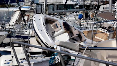 Boats are piled on each other at the Southport Marina following the effects of Hurricane Isaias in Southport, N.C., Tuesday, Aug. 4, 2020. (AP Photo/Gerry Broome)
