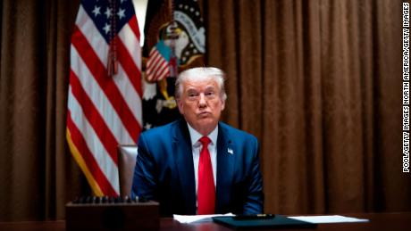 WASHINGTON, DC - AUGUST 03: U.S. President Donald Trump makes remarks as he meets with U.S. Tech Workers and signs an Executive Order on Hiring Americans, in the Cabinet Room of the White House on August 3, 2020 in Washington, DC. The executive order bans federal agencies from firing American citizens or green card holders and hiring foreign workers to do their jobs. (Photo by Doug Mills-Pool/Getty Images)