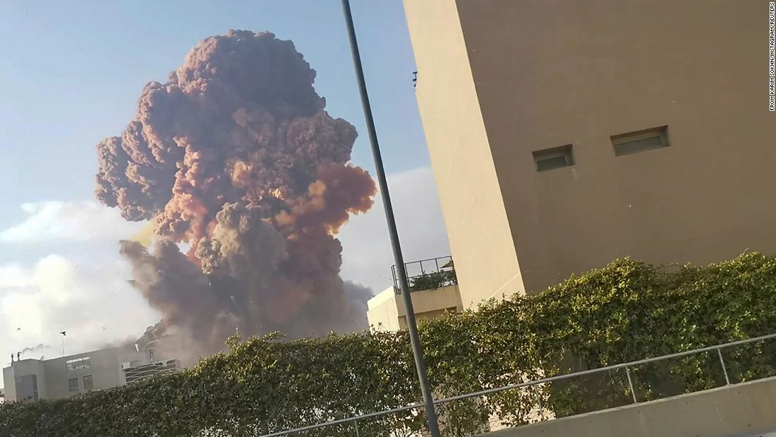 Smoke rises after the blast. This image was obtained from a video on social media.