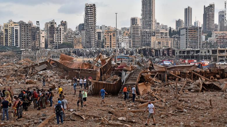 A picture shows the scene of an explosion near the the port in Beirut.