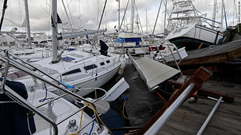 Boats at a marina in Southport, North Carolina, were piled on each other after Hurricane Isaias.