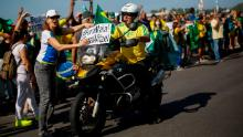 Supporters of President Jair Bolsonaro rally against current Rio de Janeiro Governor Wilson Witzel on May 31, 2020 in Rio de Janeiro, Brazil.