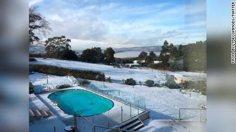 A rare dusting of snow fell this week in the Australian island state.