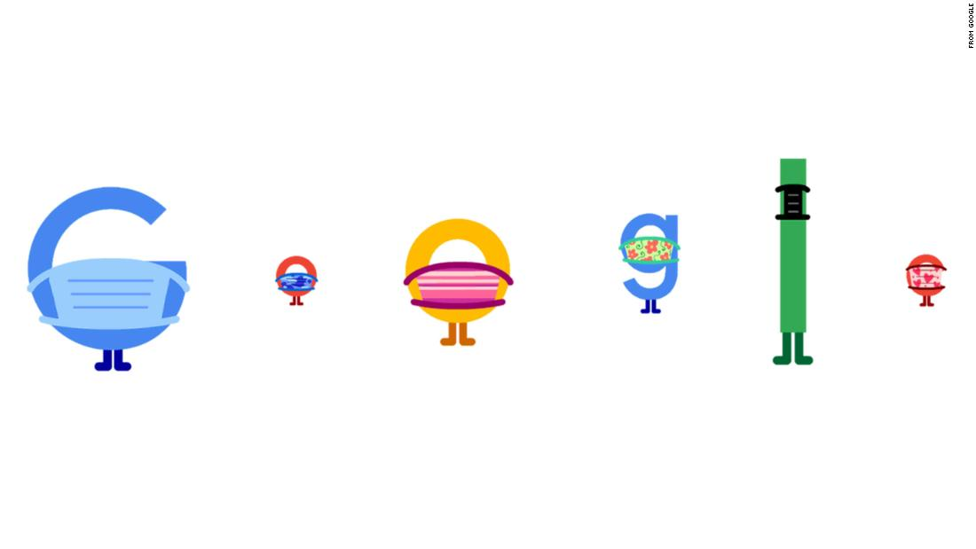 Google Doodle promotes mask wearing and social distancing practices
