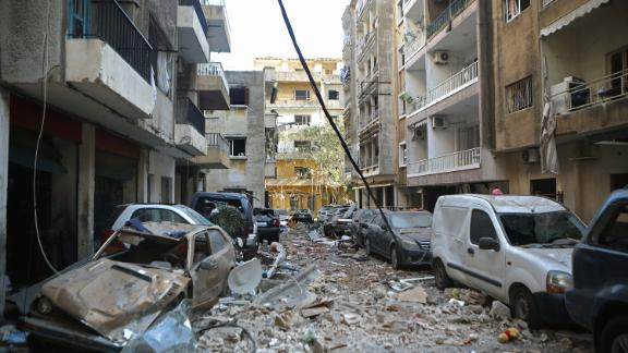 The Beirut neighborhood of Mar Mikhael sits in ruins.