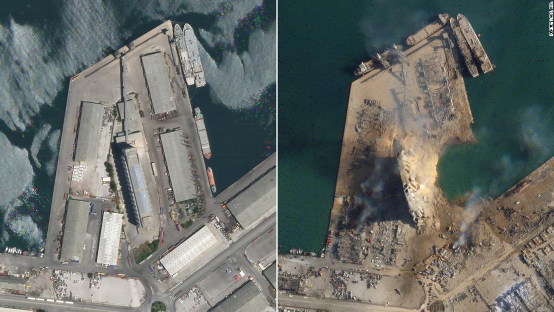 Hình ảnh vệ tinh của vụ nổ Beirut cho thấy miệng núi lửa lớn tại cảng