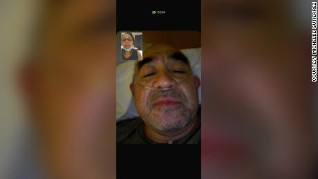 A screenshot from a FaceTime call between Michelle and David, before he was put on a ventilator.