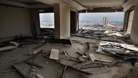 Damage is seen inside an apartment on Wednesday.