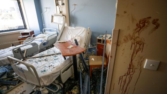 A damaged hospital room is seen on Wednesday.