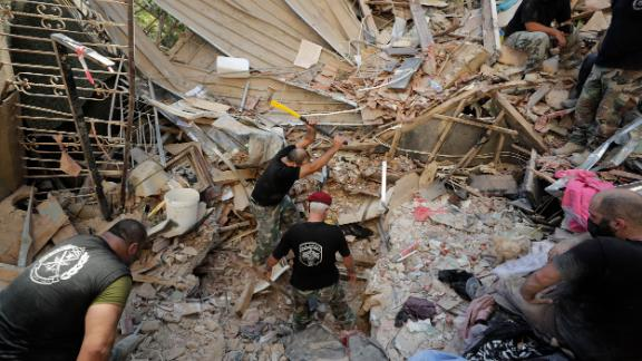 Lebanese soldiers search for survivors on Wednesday.