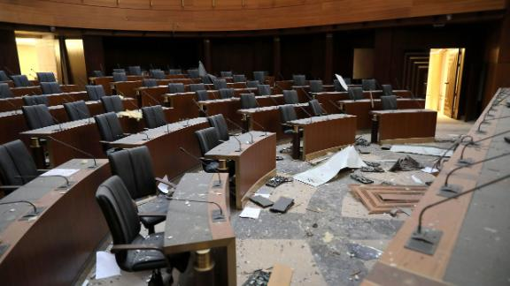 Debris litters the floor of the Lebanese Parliament on Wednesday.