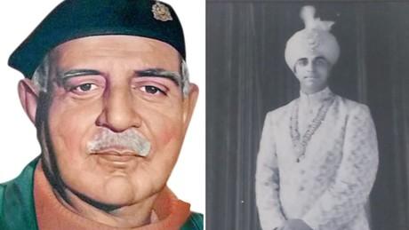À gauche: une image de feu Raja Man Singh, né dans une famille royale à Bharatpur. À droite: un jeune Raja Man Singh.