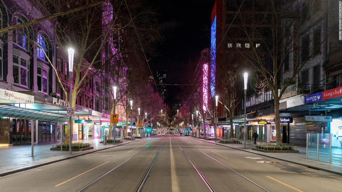 "An empty Swanston Street is seen in Melbourne's Central Business District on August 5. Australia's second-most populous city <a href=""https://www.cnn.com/2020/08/03/australia/australia-melbourne-coronavirus-intl-hnk/index.html"" target=""_blank"">has implemented a curfew</a> for the next six weeks."