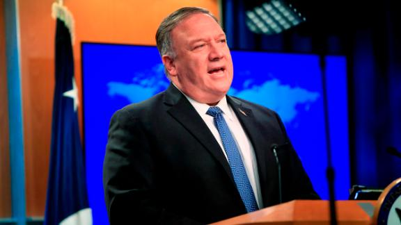 US Secretary of State Mike Pompeo speaks during a news conference at the State Department in Washington, DC, on August 5, 2020. - Pompeo said Wednesday the US would offer a $10 million reward to arrest any state actor who interferes in the November elections. (Photo by Pablo Martinez Monsivais/POOL/AFP/Getty Images)