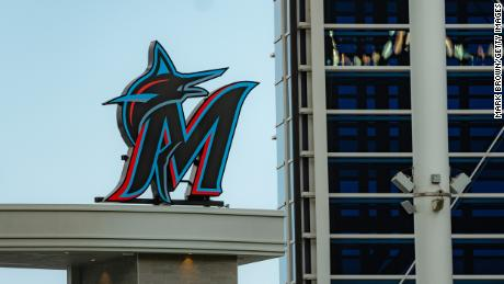A general view of the Marlins logo in the outfield last year in Miami