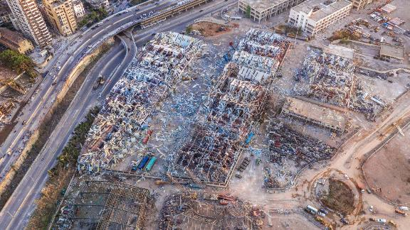 This aerial photo, taken on Wednesday, shows ruined structures at the port.