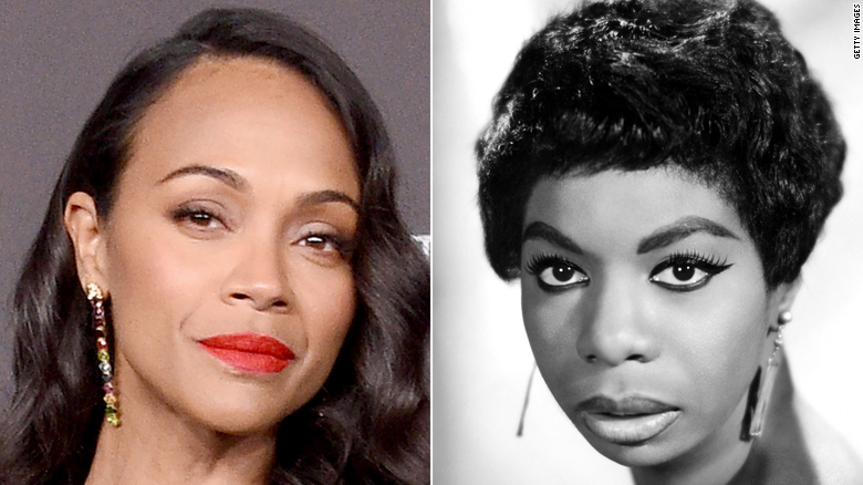Zoe Saldana (left) has previously defended the decision to play Nina Simone.