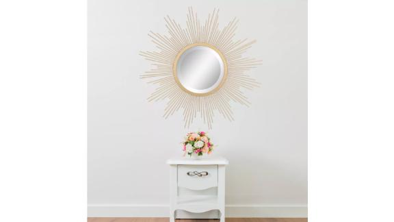 Stonebriar Collection 23-Inch Metal Sunburst Wall Mirror Gold